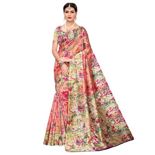 Glorious Peach Colored Casual Wear Printed Zoya Silk Saree