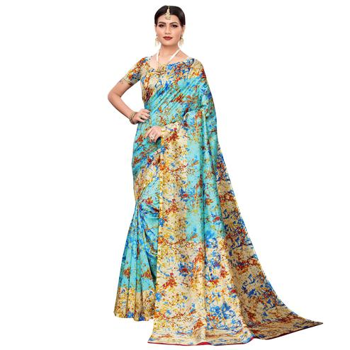 Attractive Blue Colored Casual Wear Printed Zoya Silk Saree