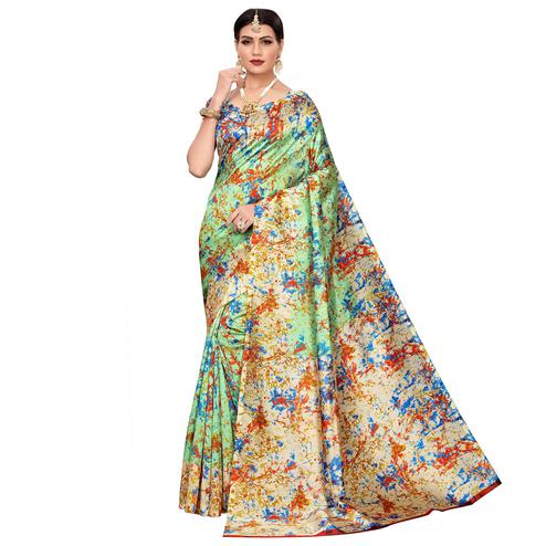 Beautiful Green Colored Casual Wear Printed Zoya Silk Saree
