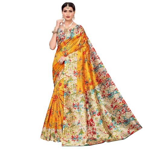 Graceful Yellow Colored Casual Wear Printed Zoya Silk Saree