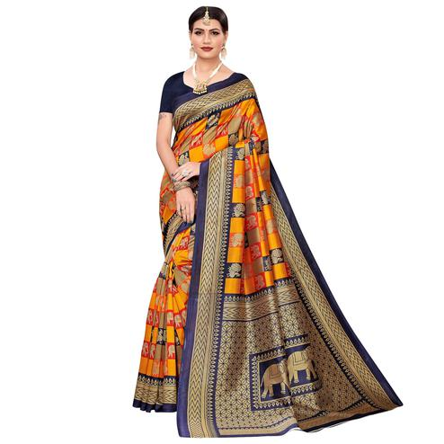 Blooming Yellow-Blue Colored Casual Wear Elephant Printed Zoya Silk Saree