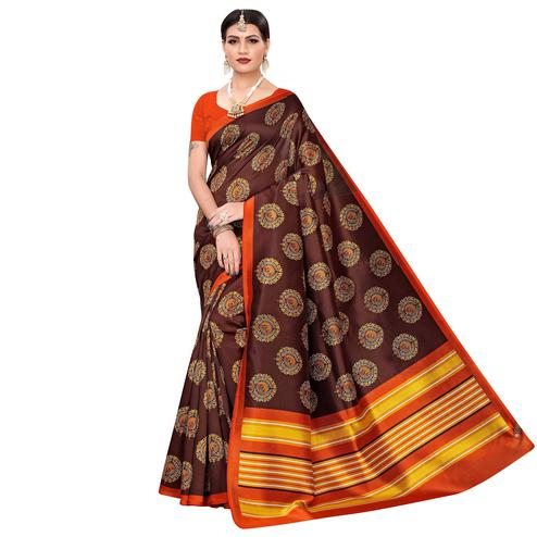 Charming Brown Colored Casual Wear Printed Zoya Silk Saree