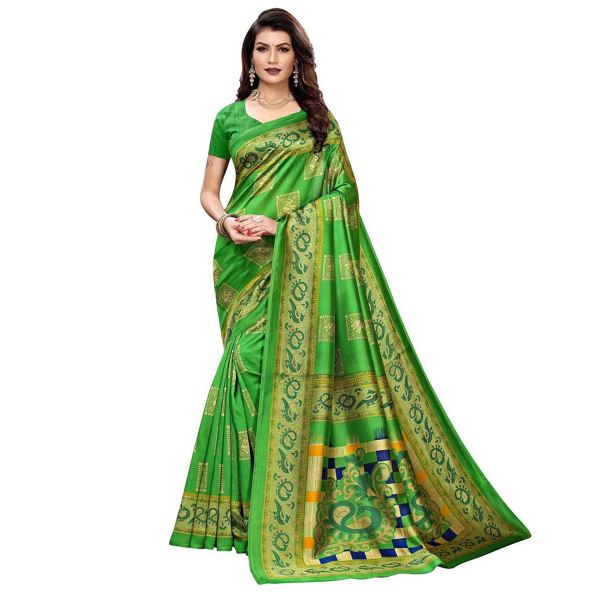 Jazzy Green Colored Casual Wear Elephant Printed Zoya Silk Saree