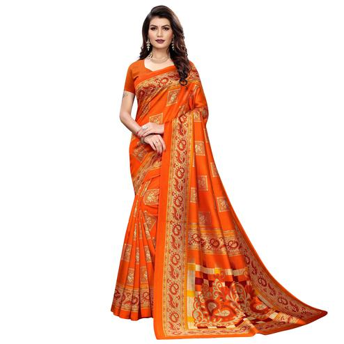 Delightful Orange Colored Casual Wear Elephant Printed Zoya Silk Saree
