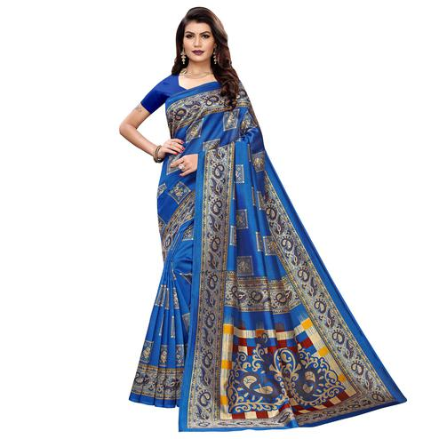 Engrossing Blue Colored Casual Wear Elephant Printed Zoya Silk Saree