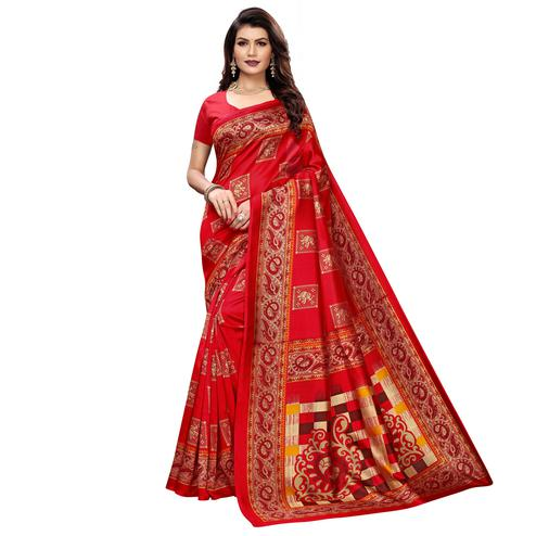 Captivating Red Colored Casual Wear Elephant Printed Zoya Silk Saree