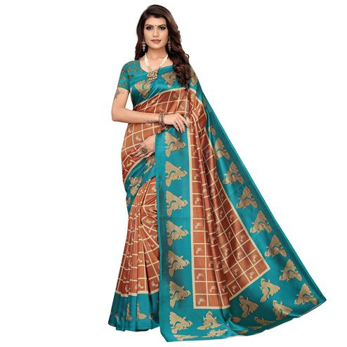 Eye-catching Brown Colored Casual Wear Peacock Printed Zoya Silk Saree