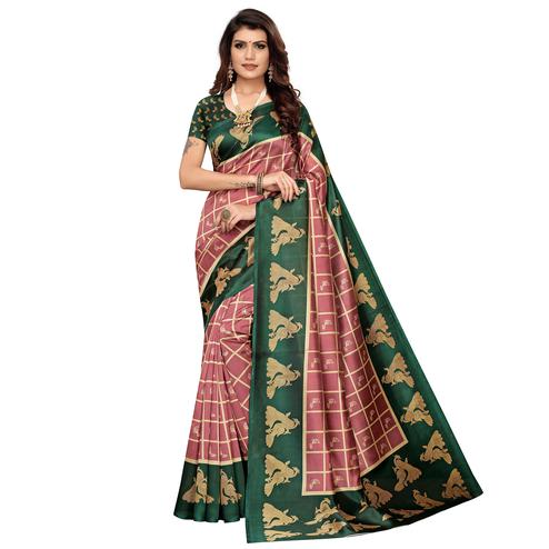 Amazing Mauve-Green Colored Casual Wear Peacock Printed Zoya Silk Saree