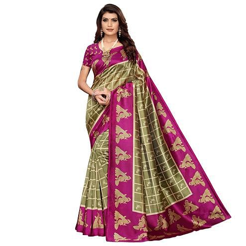 Gorgeous Mauve-Pink Colored Casual Wear Peacock Printed Zoya Silk Saree