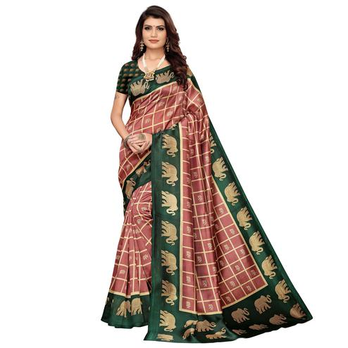 Blissful Mauve-Green Colored Casual Wear Peacock Printed Zoya Silk Saree