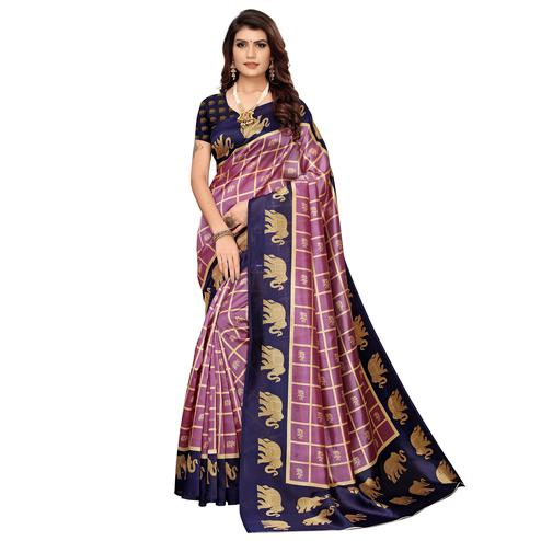 Ideal Mauve-Blue Colored Casual Wear Peacock Printed Zoya Silk Saree
