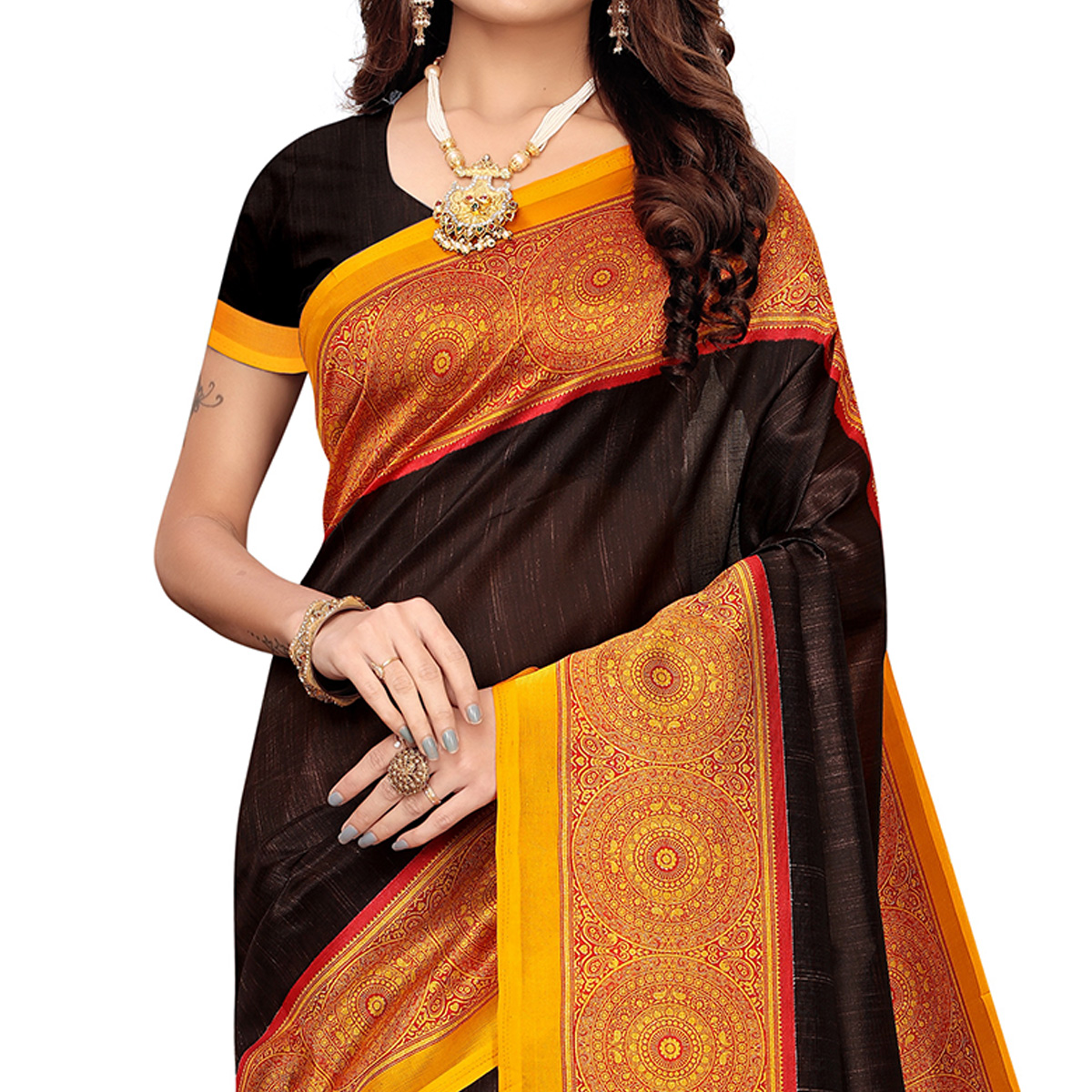 Lovely Brown Colored Casual Wear Printed Zoya Silk Saree