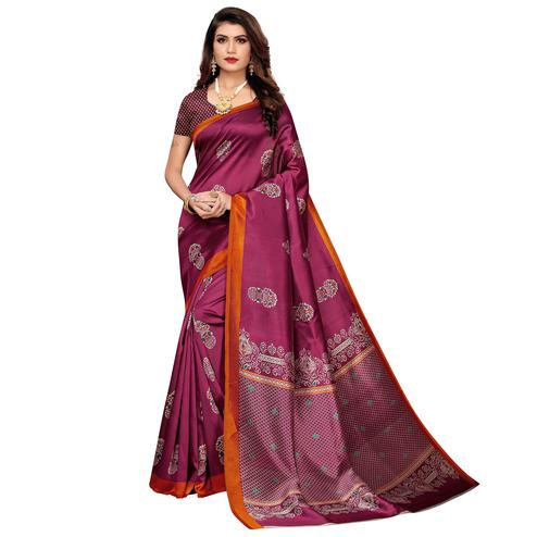Majesty Magenta Pink Colored Casual Wear Floral Printed Zoya Silk Saree