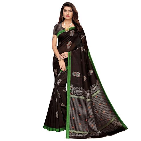 Impressive Coffee Brown Colored Casual Wear Floral Printed Zoya Silk Saree
