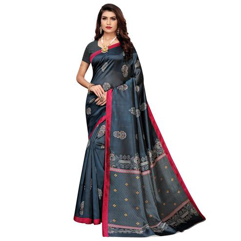 Ethnic Dark Grey Colored Casual Wear Floral Printed Zoya Silk Saree