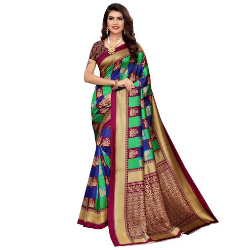 Staring Magenta Pink-Green Colored Casual Wear Printed Zoya Silk Saree