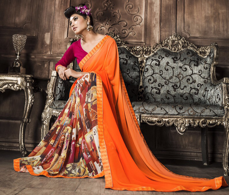 Orange Art Print Georgette Saree