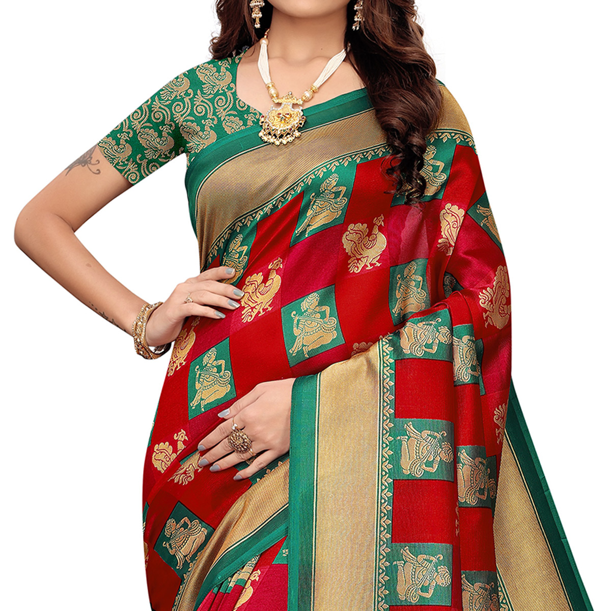 Dazzling Red-Green Colored Casual Wear Printed Zoya Silk Saree