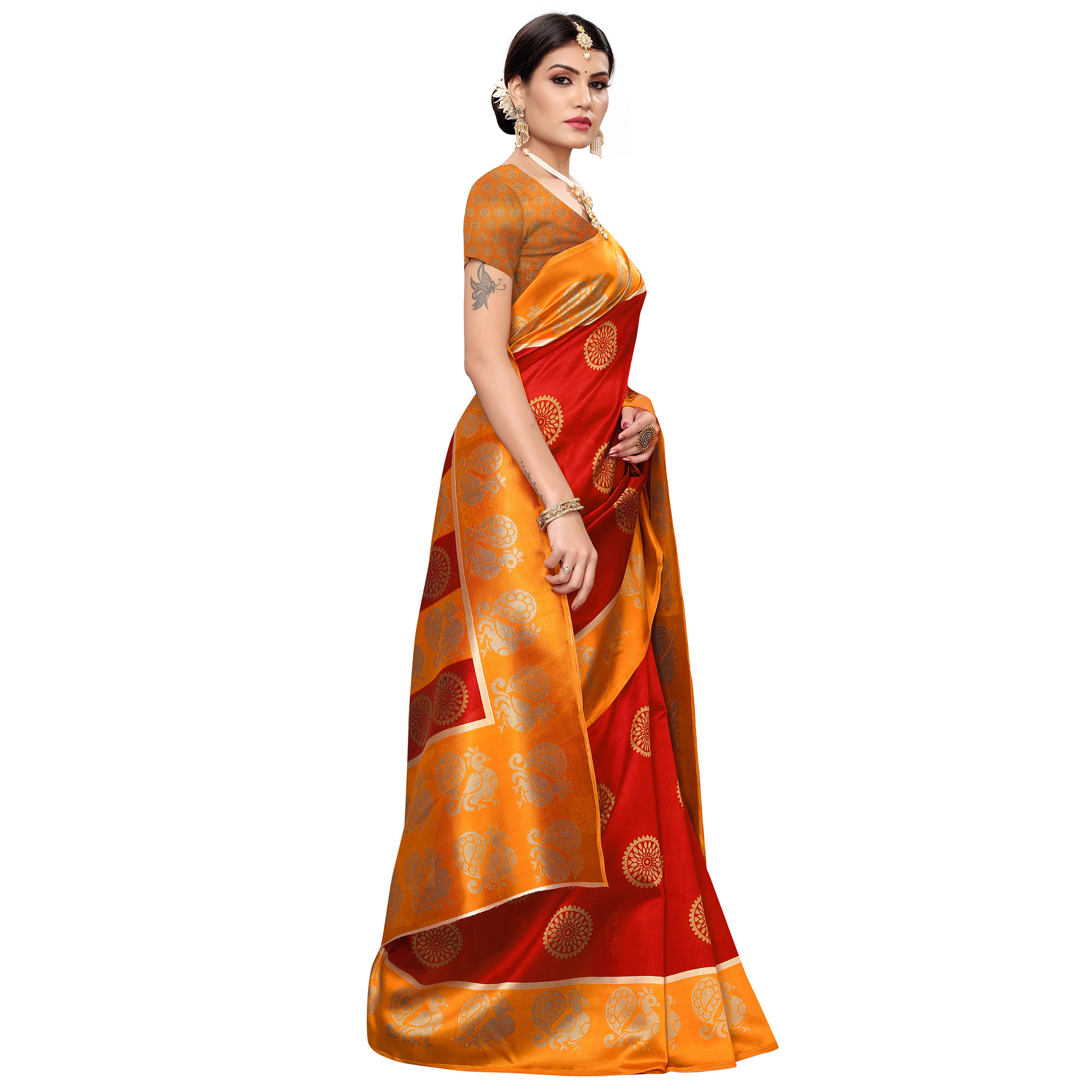 Surpassing Red Colored Casual Wear Printed Zoya Silk Saree
