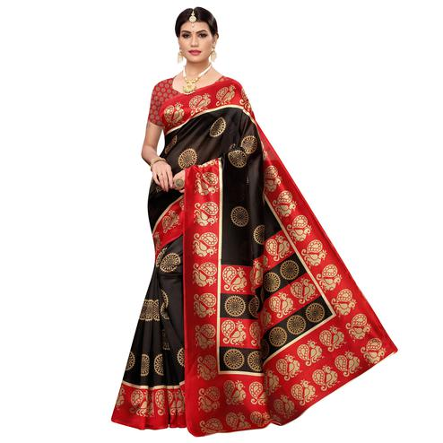 Intricate Black Colored Casual Wear Printed Zoya Silk Saree