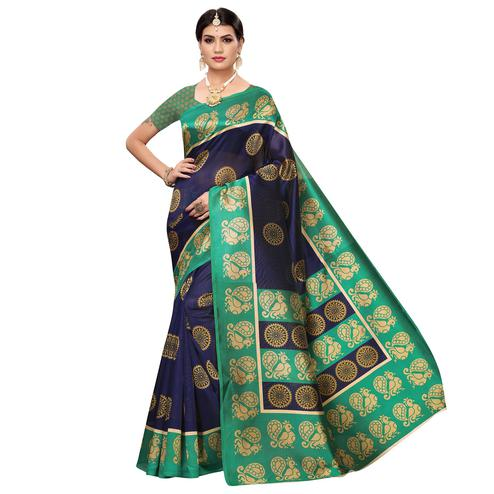 Desirable Navy Blue Colored Casual Wear Printed Zoya Silk Saree