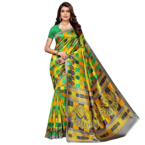 Exotic Yellow-Green Colored Casual Wear Peacock Printed Zoya Silk Saree