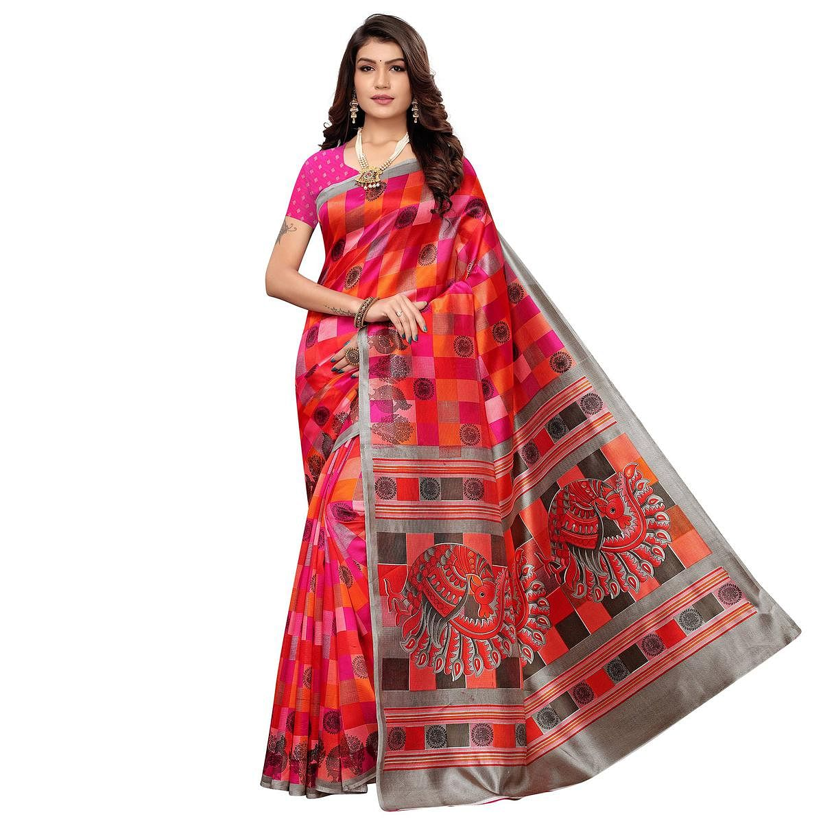 Sophisticated Pink-Orange Colored Casual Wear Peacock Printed Zoya Silk Saree