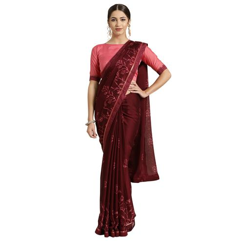 Adorable Maroon Colored Casual Printed Georgette Saree
