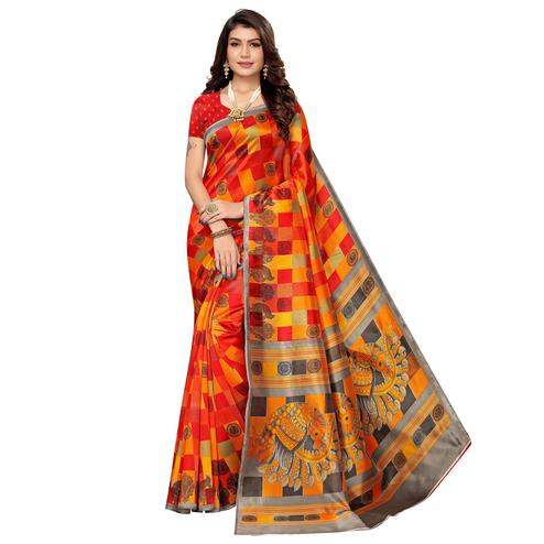 Elegant Orange Colored Casual Wear Peacock Printed Zoya Silk Saree