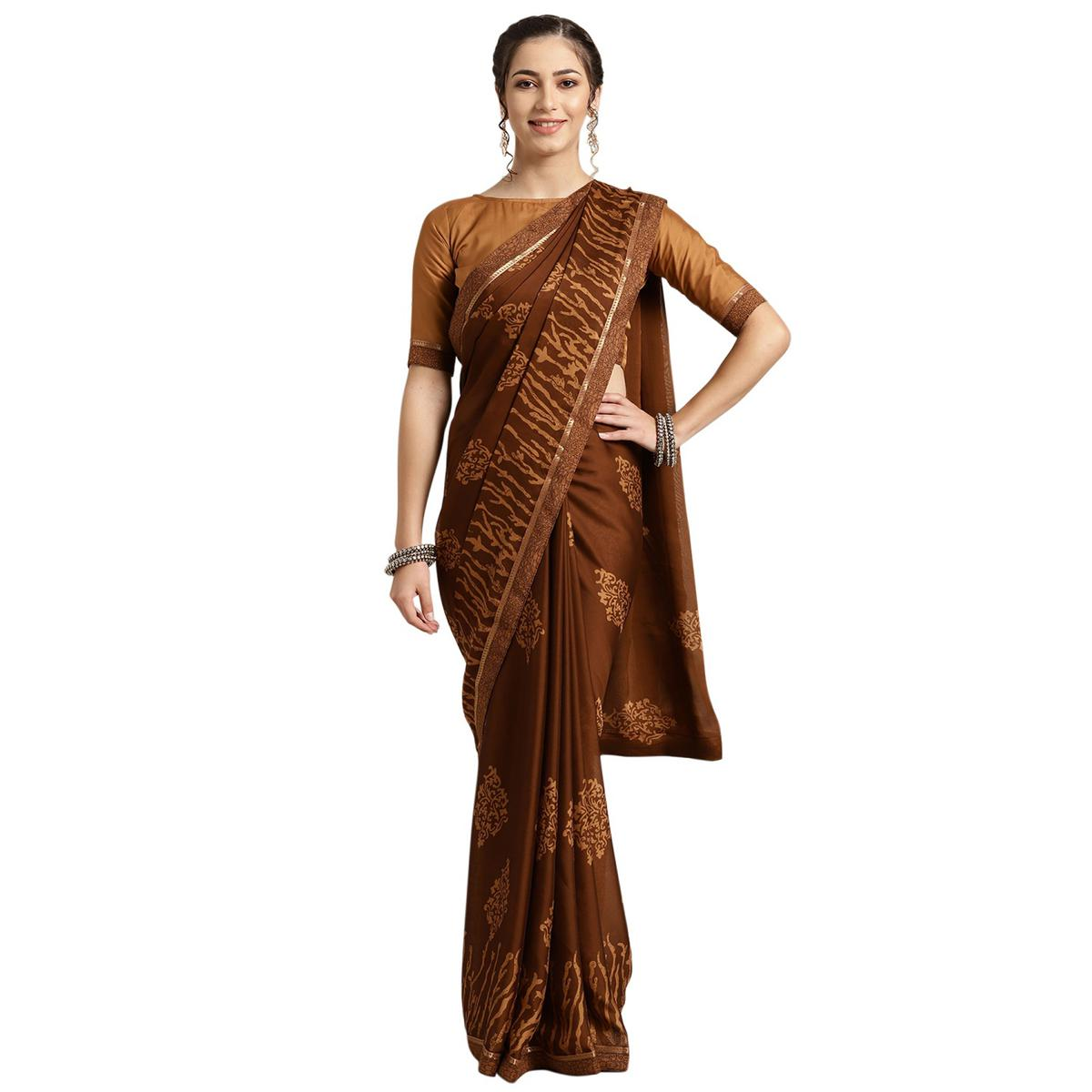 Glorious Brown Colored Casual Printed Georgette Saree