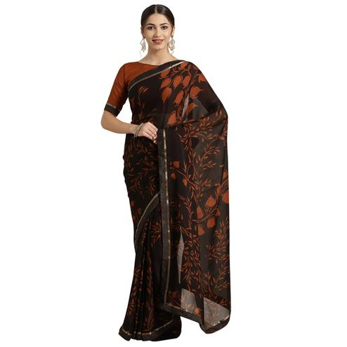Beautiful Black-Brown Colored Casual Printed Georgette Saree