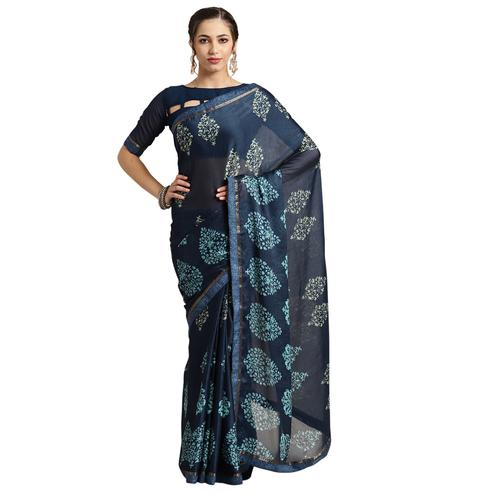 Graceful Blue Colored Casual Printed Georgette Saree