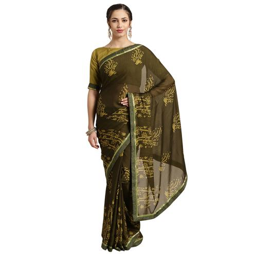 Charming Olive Green Colored Casual Printed Georgette Saree