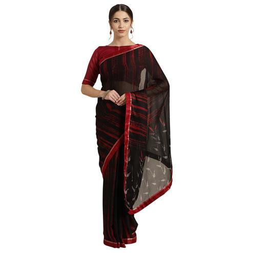 Jazzy Black Colored Casual Printed Georgette Saree