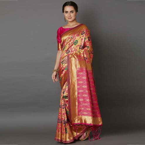 Captivating Golden Colored Festive Wear Woven Silk Saree