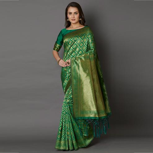 Amazing Green Colored Festive Wear Woven Silk Saree