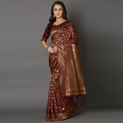 Gorgeous Brown Colored Festive Wear Woven Silk Saree