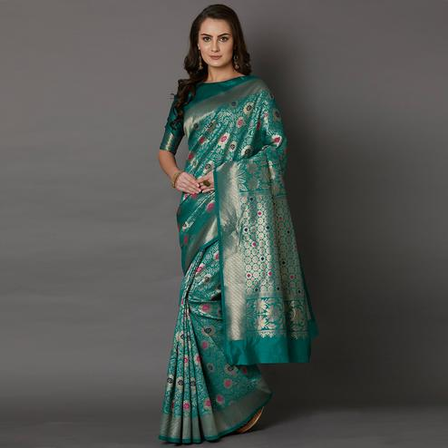 Mesmerising Teal Green Colored Festive Wear Woven Silk Saree