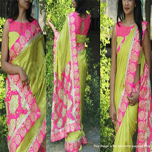 Parrot Green Georgette Net Saree