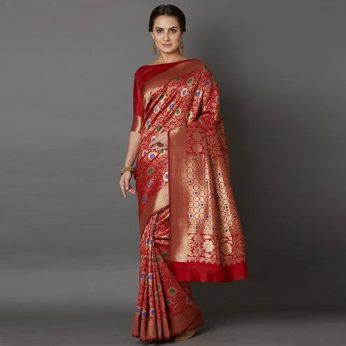 Breathtaking Red Colored Festive Wear Woven Silk Saree