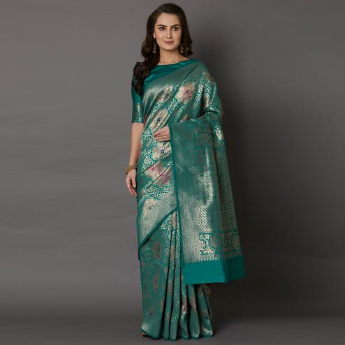 Ethnic Teal Green Colored Festive Wear Woven Silk Saree
