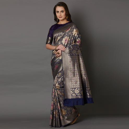 Ravishing Navy Blue Color Festive Wear Woven Silk Saree