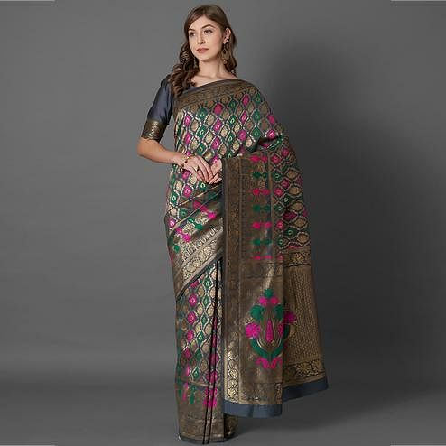 Desirable Grey Colored Festive Wear Woven Silk Saree