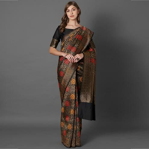 Exotic Black Colored Festive Wear Woven Silk Saree