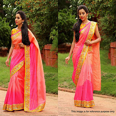 Peach - Pink Border Work Nylon Saree