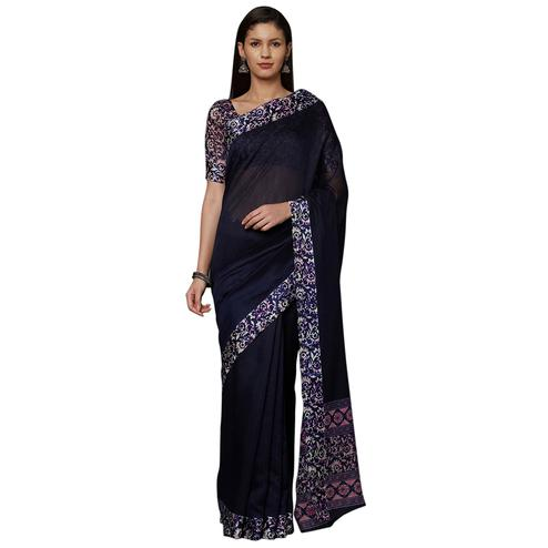 Refreshing Navy Blue Colored Casual Printed Cotton Saree