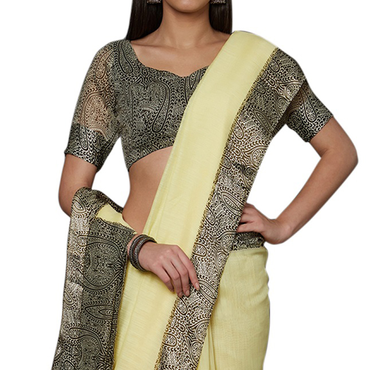 Magnetic Yellow Colored Casual Printed Cotton Saree