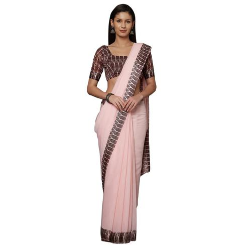 Hypnotic Pink Colored Casual Printed Cotton Saree
