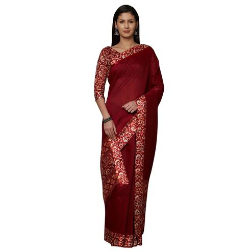 Flattering Maroon Colored Casual Printed Cotton Saree