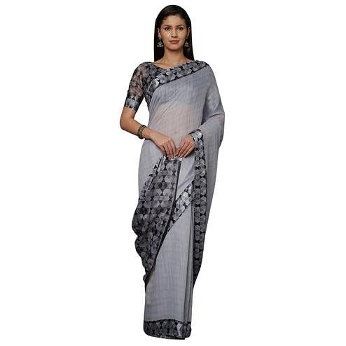 Excellent Grey Colored Casual Printed Cotton Saree